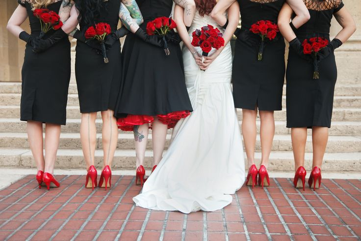 red rose wedding bridesmaids