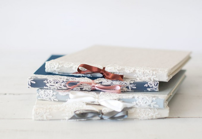 ribbon and lace guest book by claire magnolia - lace accessories weddings