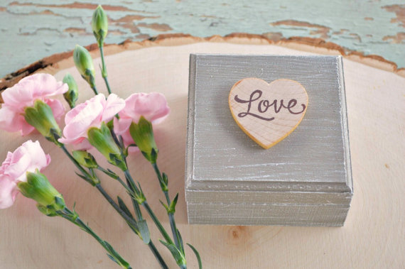 rustic ring box with love heart on top