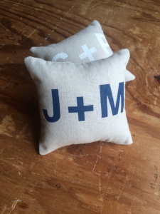 ring bearer pillow with initials bold