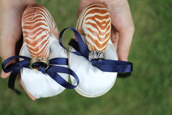 ring bearer seashell - ring bearer pillow ideas