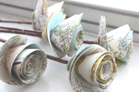 rolled paper roses made from maps
