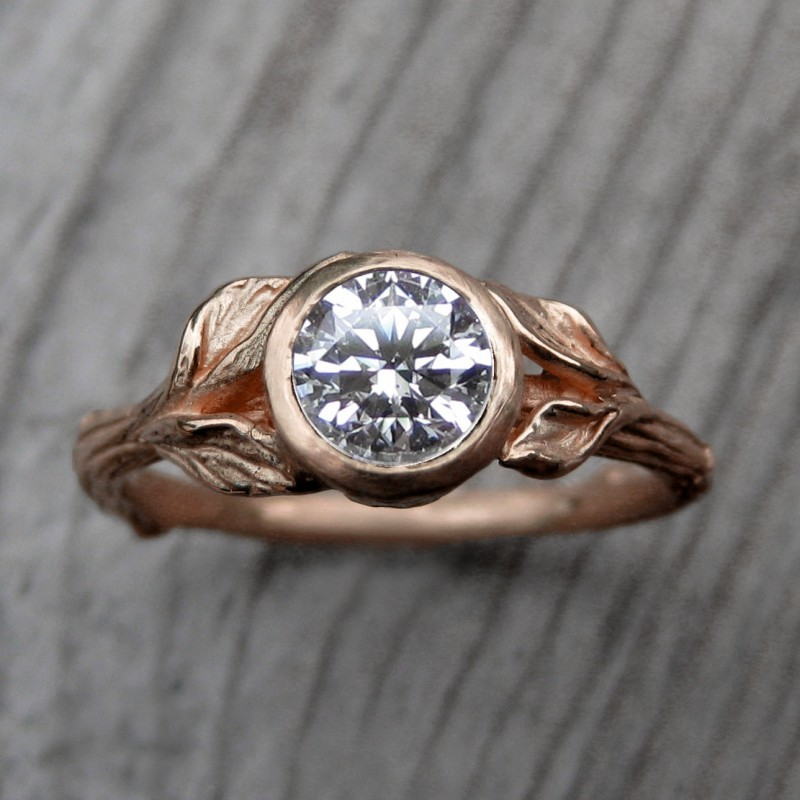 rose gold engagement ring by kristin coffin | Rose Gold Wedding Ideas via http://emmalinebride.com/planning/rose-gold-wedding-ideas/