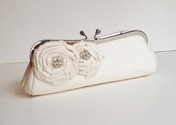 rosette wedding clutch purse