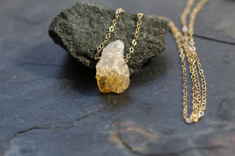rough gemstone necklace in gold by greygoosegifts