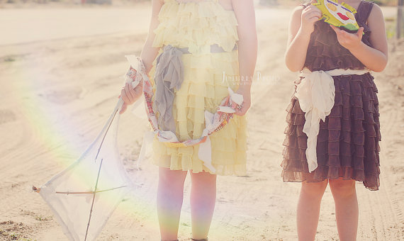 Ruffly Flower Girl Dresses - yellow, brown