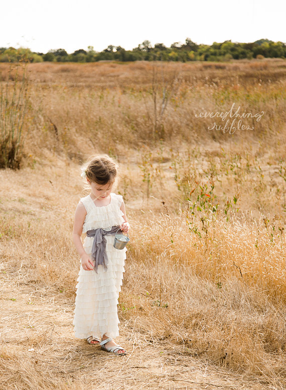 Ruffly Flower Girl Dresses - long length in ivory