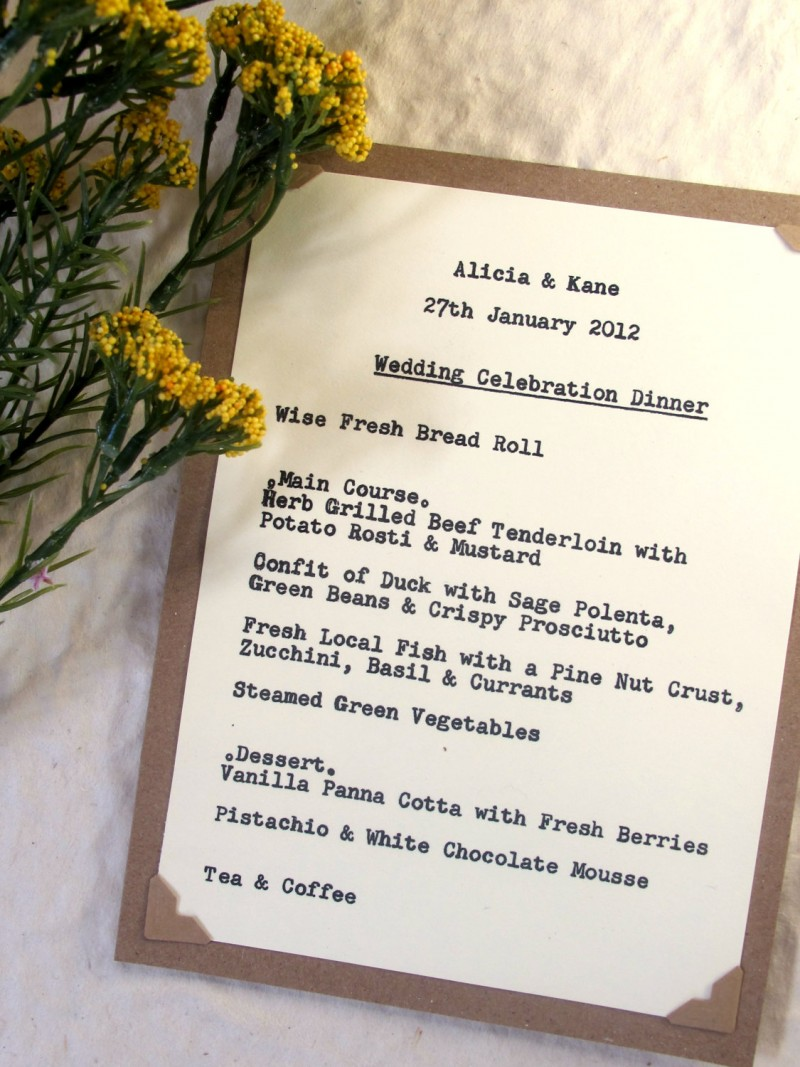 rustic chic menu by JoBlake | rustic chic wedding ideas