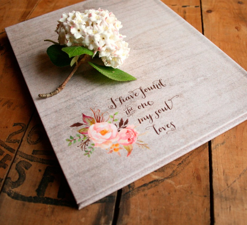 rustic floral wedding guest book - back