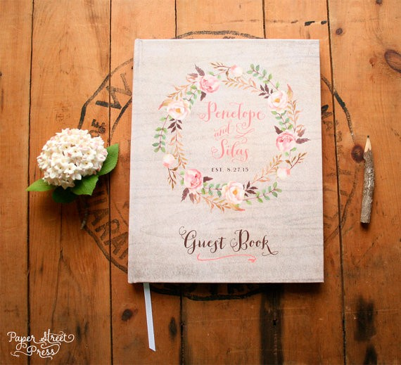 Rustic Floral Wedding Guest Book by Paper Street Press | http://emmalinebride.com/rustic/rustic-floral-wedding-invitations/
