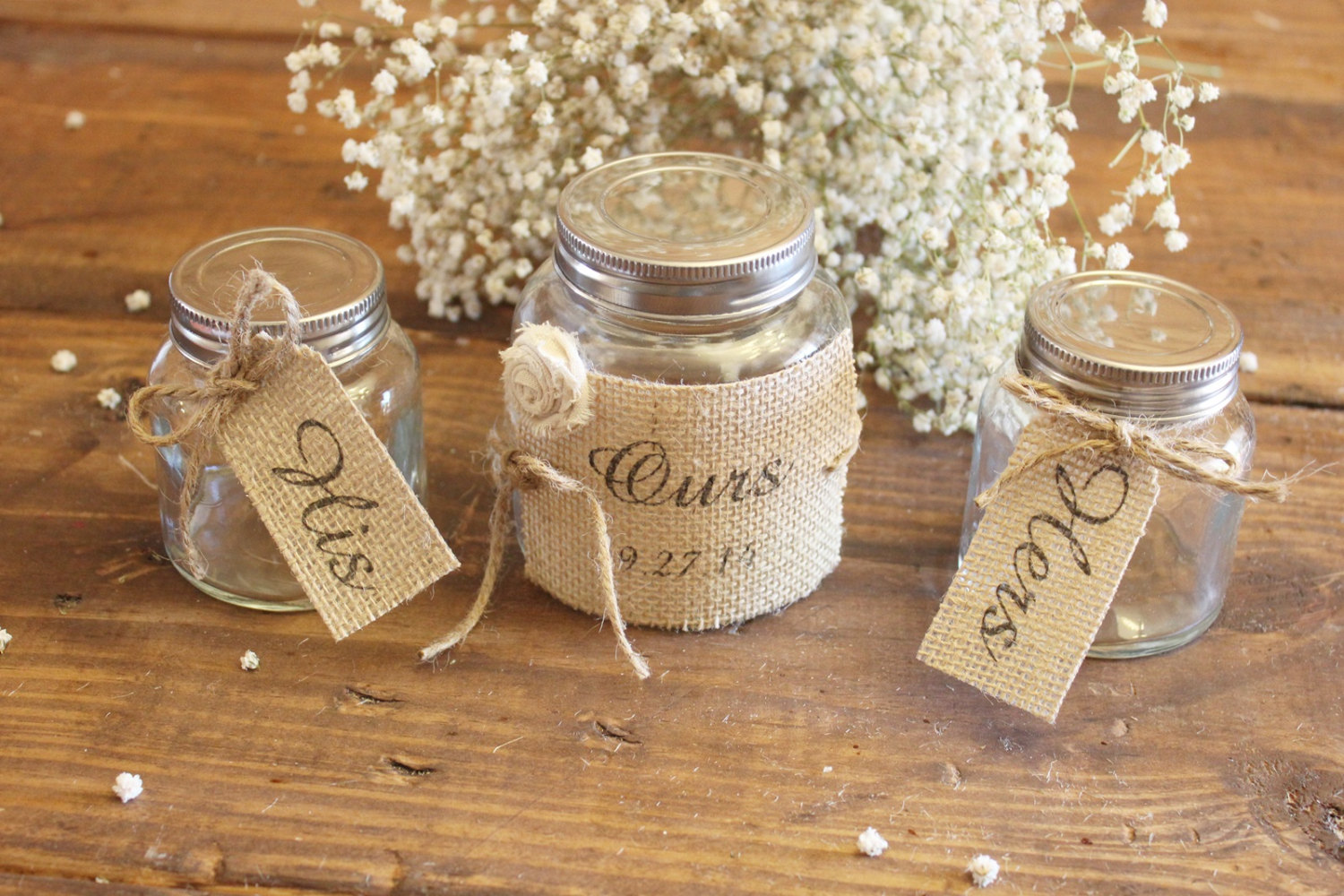 rustic sand ceremony mason jars wrapped in burlap | 50 Best Burlap Wedding Ideas | via http://emmalinebride.com/decor/burlap-wedding-ideas/