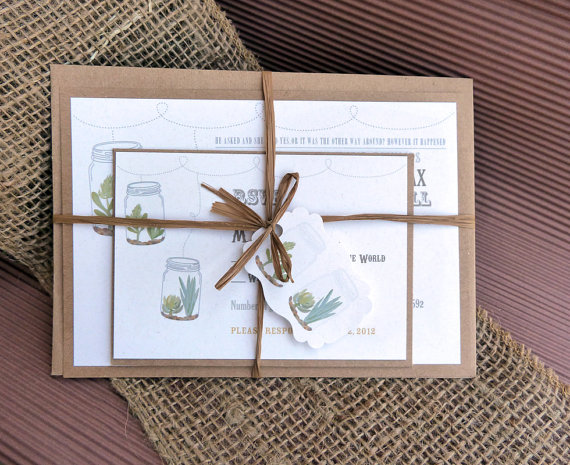 rustic succulent invitation - Invitations for Wedding Themes