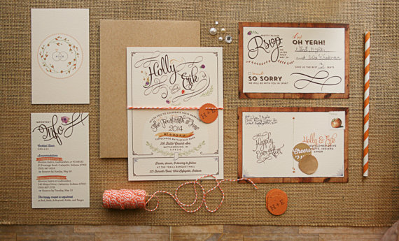 Rustic handmade wedding invitation by Paper Street Press