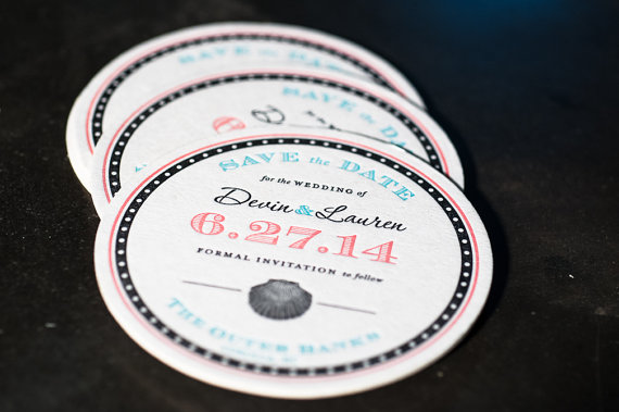 save the date coaster