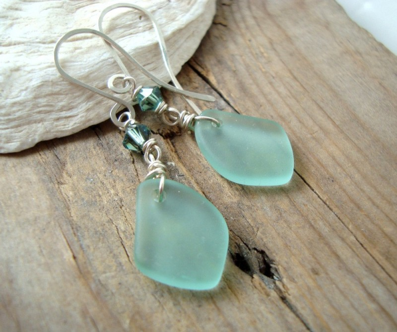 sea glass earrings by fuchsia bloom studio