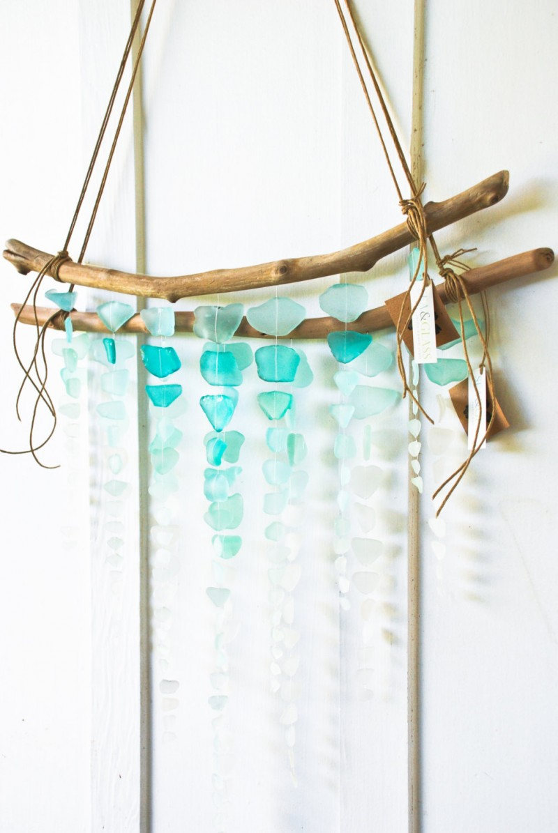 sea glass wall hanging on driftwood
