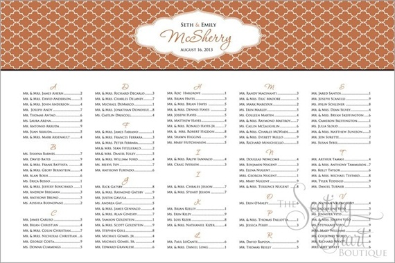 seating chart for wedding moroccan print