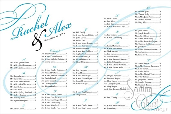 seating chart for wedding sweeping elegance