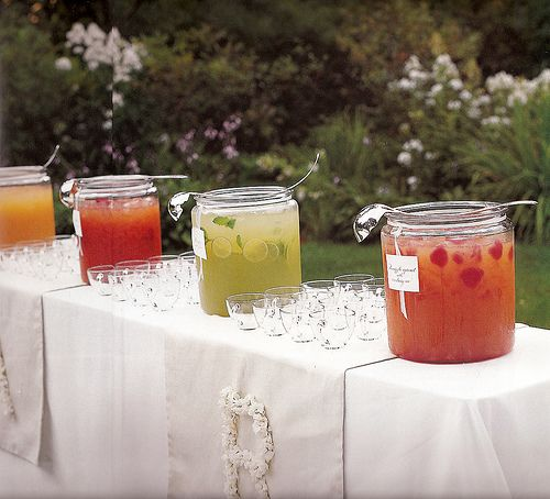 self-serve margarita bar wedding setup