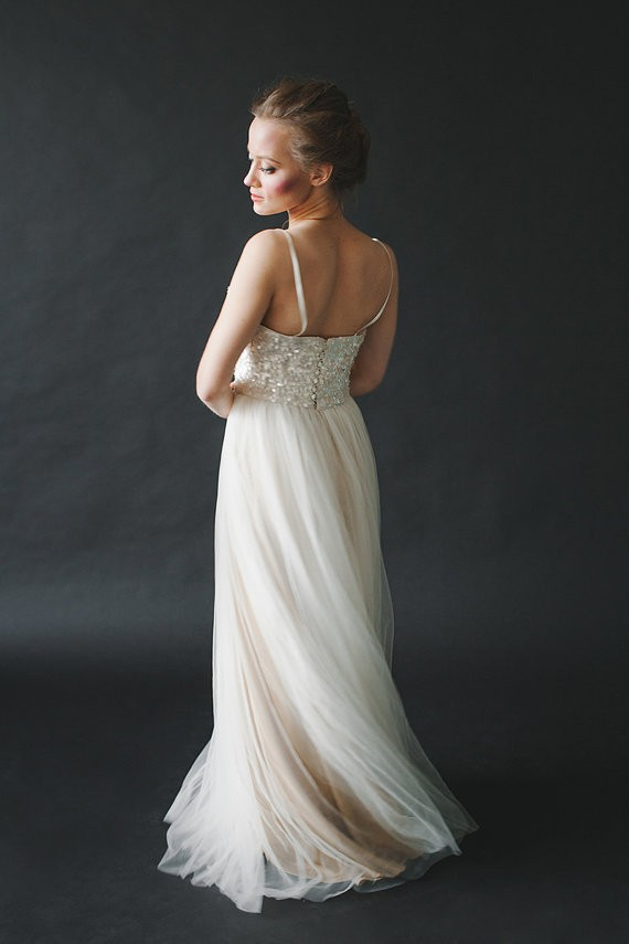 sequin wedding gown with tulle