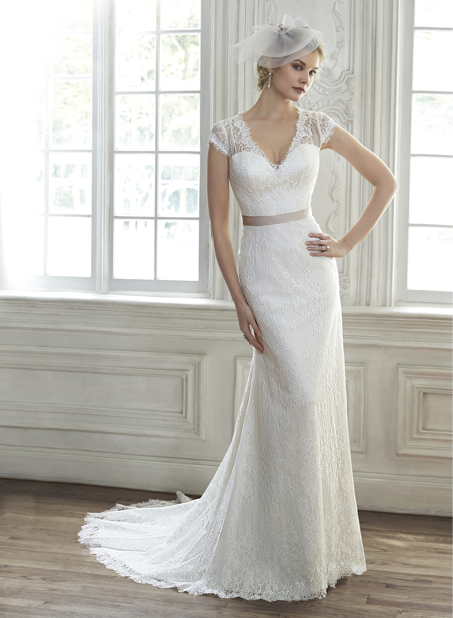 AUDRIANNA | Sheath Wedding Dresses by Maggie Sottero | via EmmalineBride.com