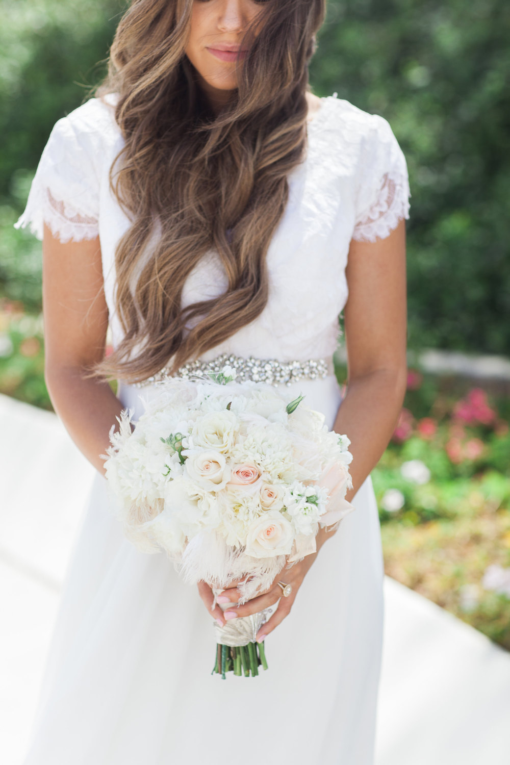 short sleeve wedding gown with lacy sleeves | via emmalinebride.com