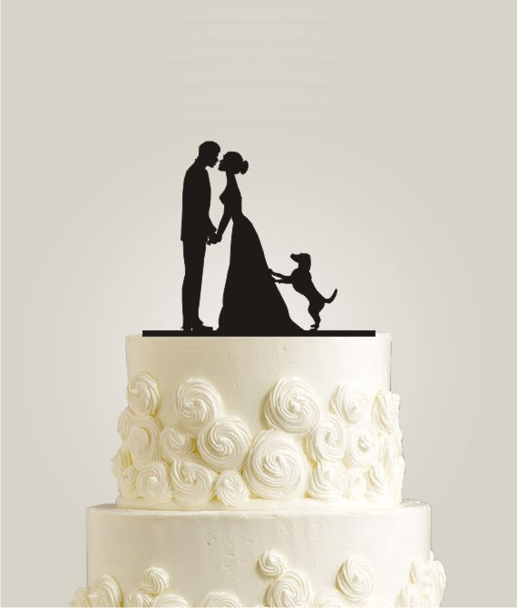silhouette cake topper with dog by laser design shop