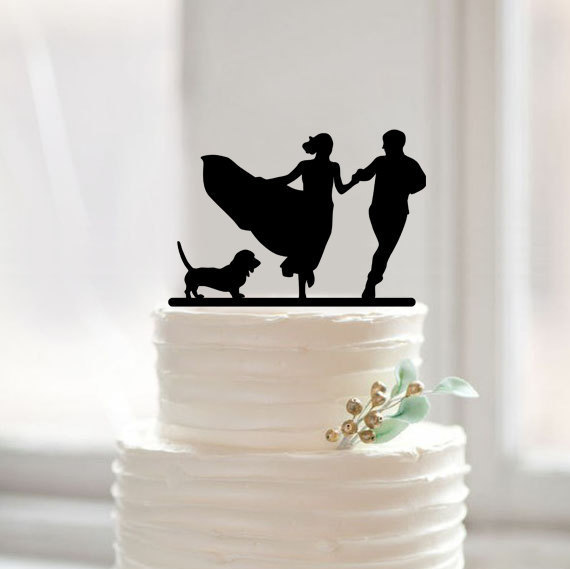 silhouette wedding cake topper with dog by Muggses