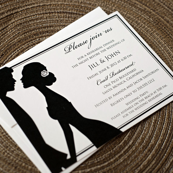 silhouette rehearsal dinner invitation