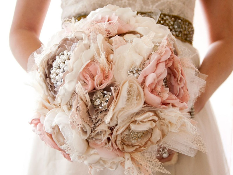 silk and brooch bouquet