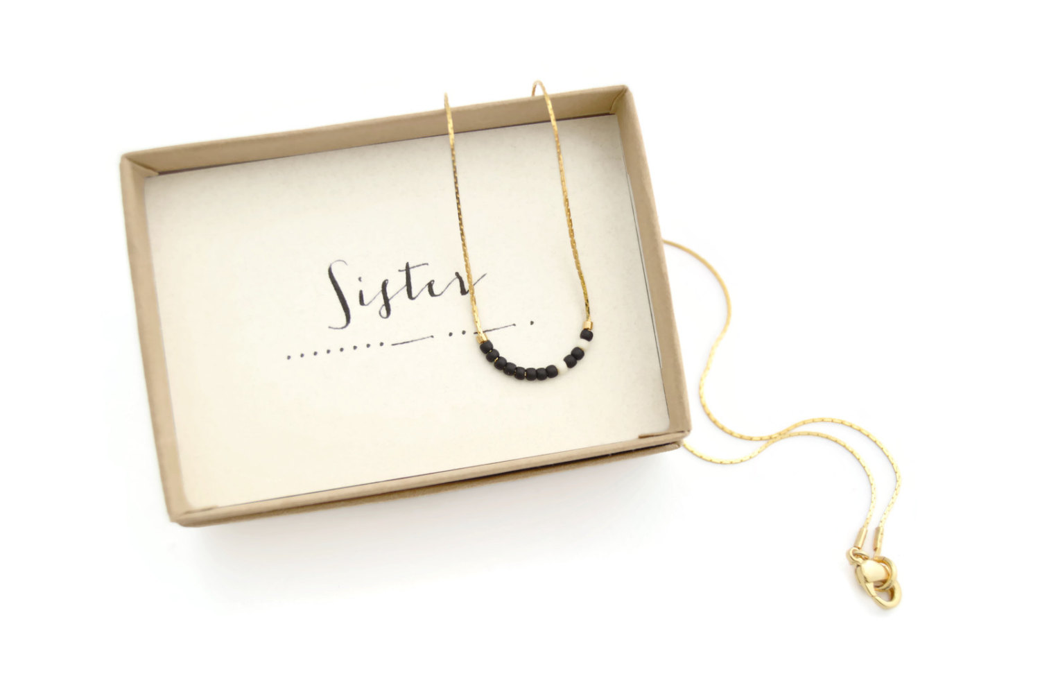 sister necklace and card gift morse code