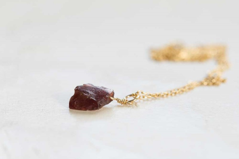 small raw garnet gemstone necklace by moonlab jewelry