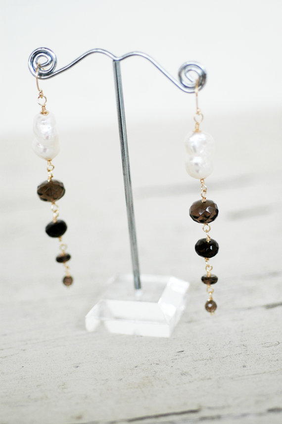smoky quartz freshwater pearl drop earrings