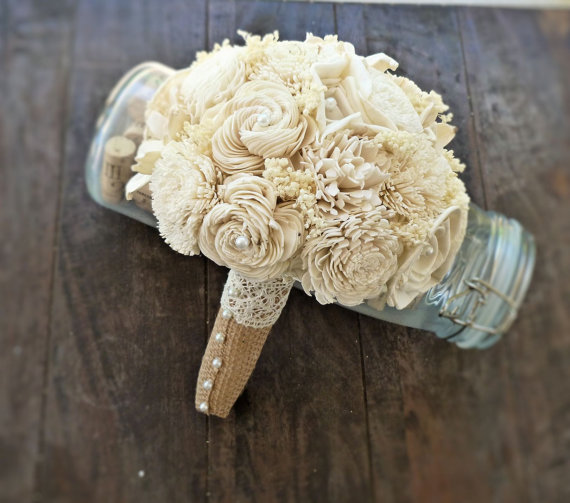 sola wedding bouquet wrapped in burlap