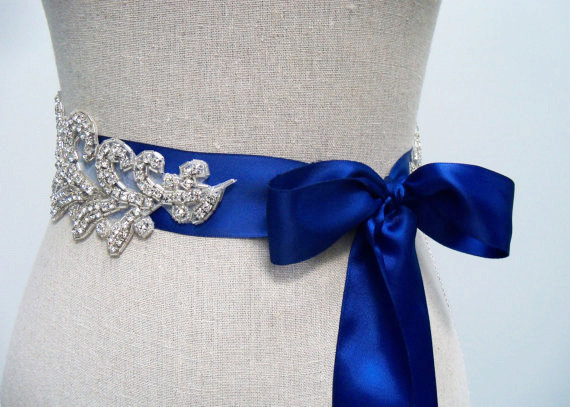 How to Choose a Bridal Sash in 3 Easy Steps (sash by SparkleSM) - something blue bridal sash