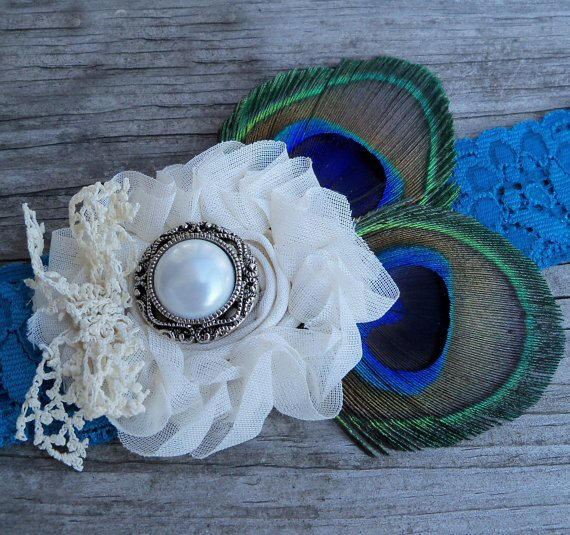 Something Blue Wedding Garter (by Wisely Crafted Originals via EmmalineBride.com)