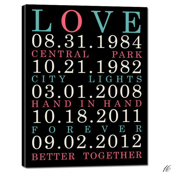 special custom dates canvas via 16 Unique Wedding Date Gifts http://emmalinebride.com/gifts/wedding-date-gifts/
