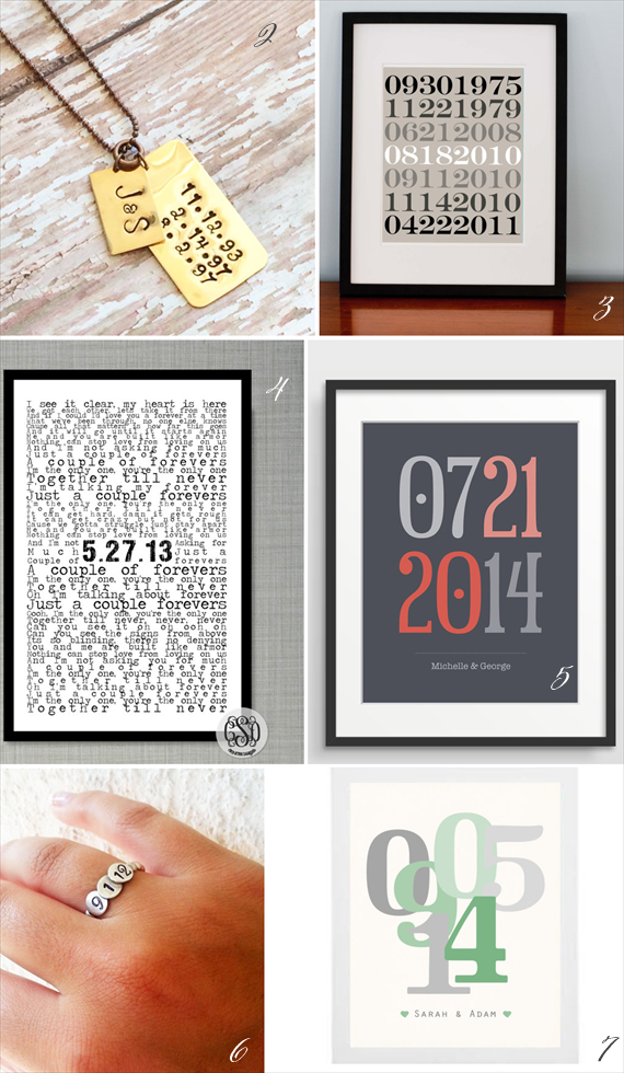 special dates gifts via 16 Unique Wedding Date Gifts http://emmalinebride.com/gifts/wedding-date-gifts/