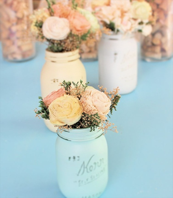Spring flower bouquet made of sola flowers for your handmade wedding centerpieces.  Bouquet by Curious Floral; painted mason jars by Beach Blues.