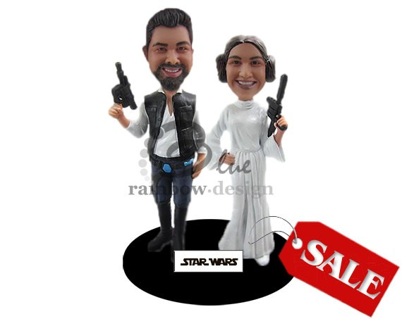 Star Wars Themed | Bobblehead Cake Toppers Weddings | http://emmalinebride.com/reception/bobblehead-cake-toppers-weddings/