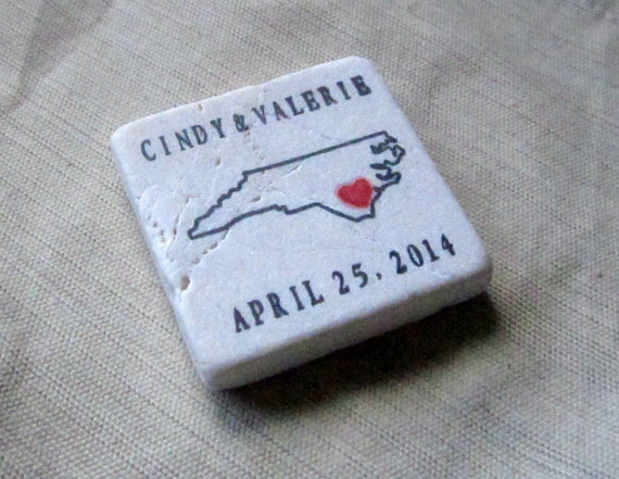 6 Creative Save the Date Ideas - state outline tile magnet by my little chickadee creations
