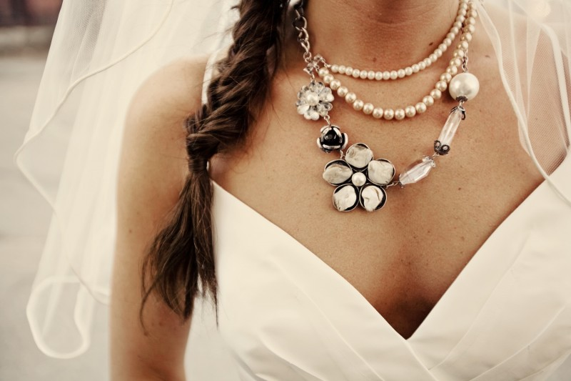 statement necklace with vneck gown