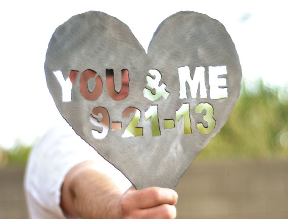 steel you and me heart shaped metal decoration via 27 Amazing Anniversary Gifts by Year https://emmalinebride.com/gifts/anniversary-gifts-by-year/