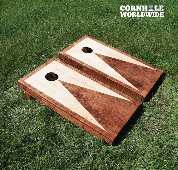 striped triangle cornhole game