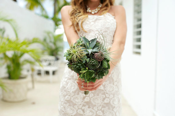 succulent wedding bouquet (by bohemian bouquets, photo by d'avelo photography)