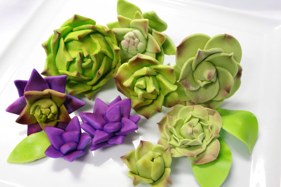 succulent wedding sugar cake toppers (by sugar and stripes co.)
