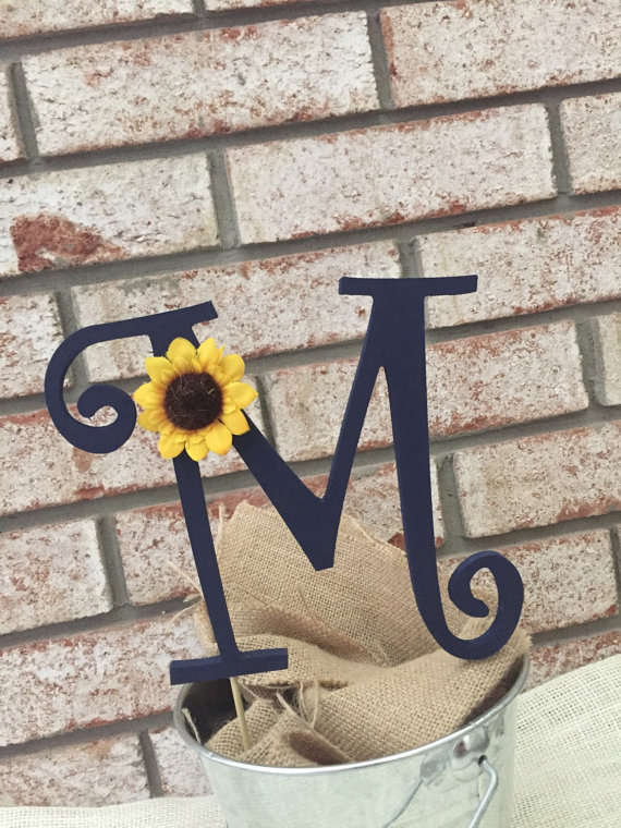 sunflower cake topper by cozy home wreaths
