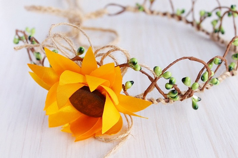 Sunflower | Flower Girl Hair Crowns | http://emmalinebride.com/flower-girl/hair-crowns/