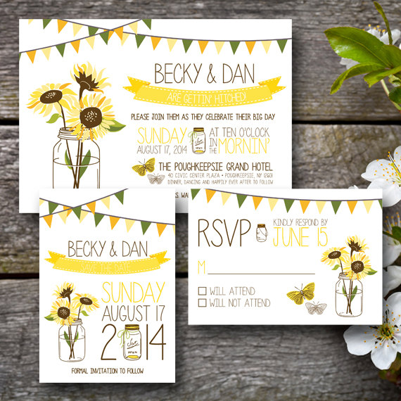 sunflower wedding invitations by ChaudyDesigns