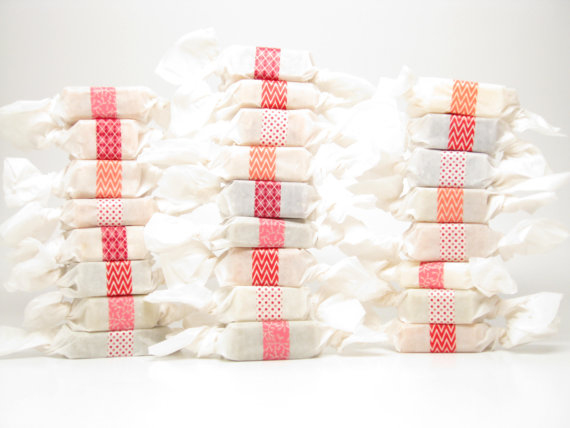 50 Best Bridal Shower Favor Ideas: wrapped soap favors (by swamp angel soap)